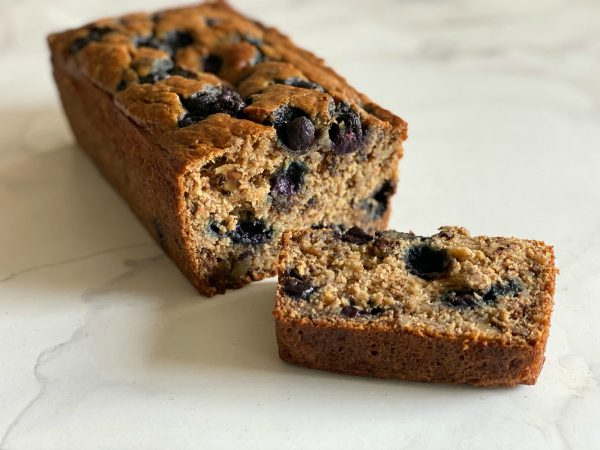 slice of whole wheat banana blueberry bread
