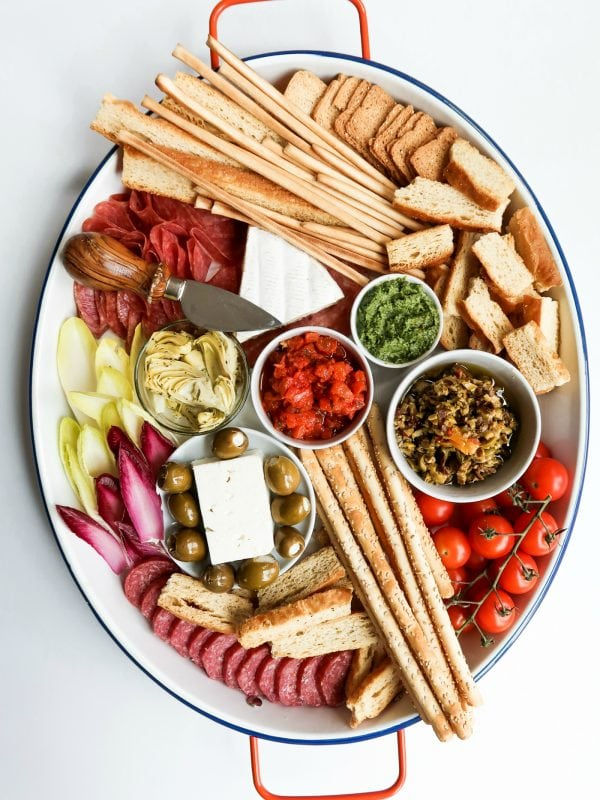 Simple Bruschetta Tray with fresh foods