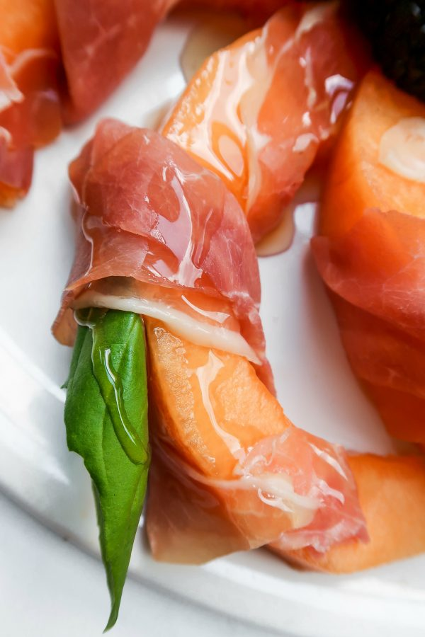 close up of one Prosciutto-Wrapped Melon Slices