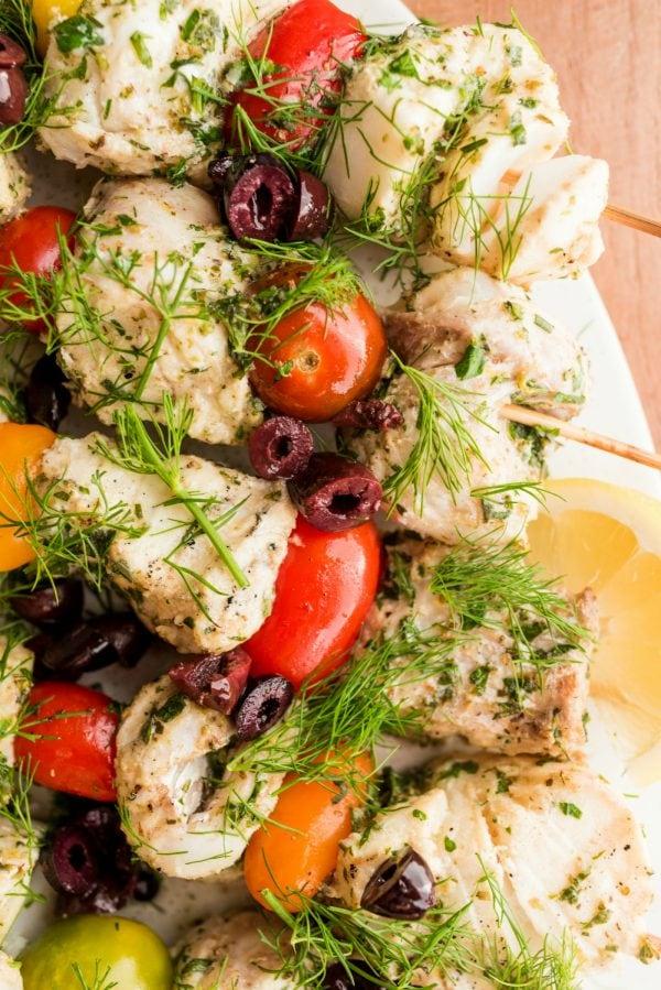 white fish kebabs