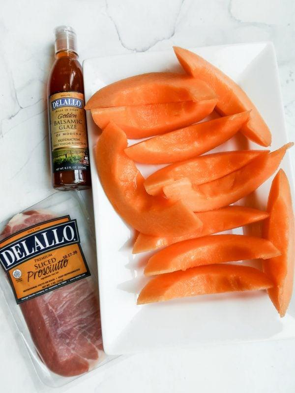 melon slices with prosciutto