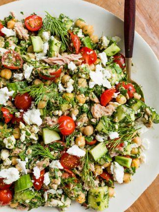 a white bowl of Marinated Chickpea Tuna Salad
