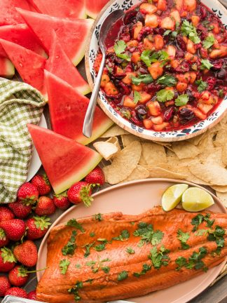 salmon fillet with peach cherry salsa