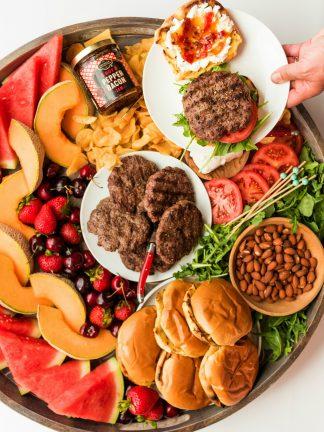 arugula burger board for make your own burger