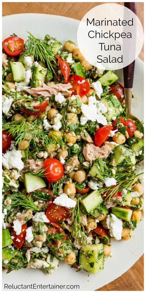 tuna, cucumbers, tomatoes, chickpea salad