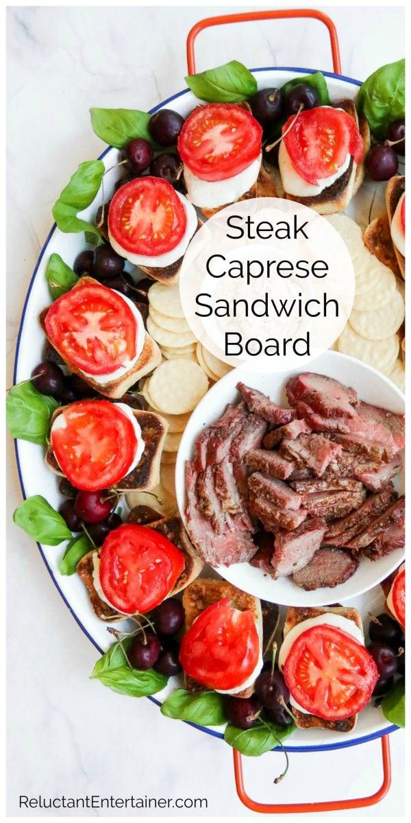 open faced steak caprese sandwiches