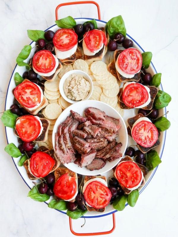 steak caprese sandwich tray