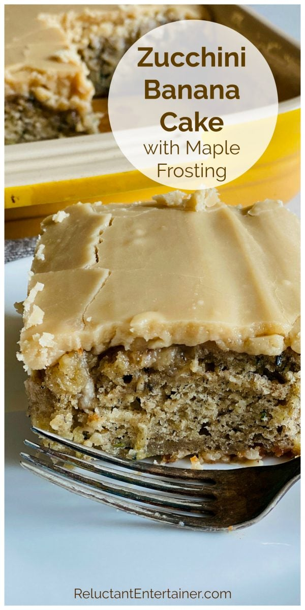 a square piece of Zucchini Banana Cake with Maple Frosting