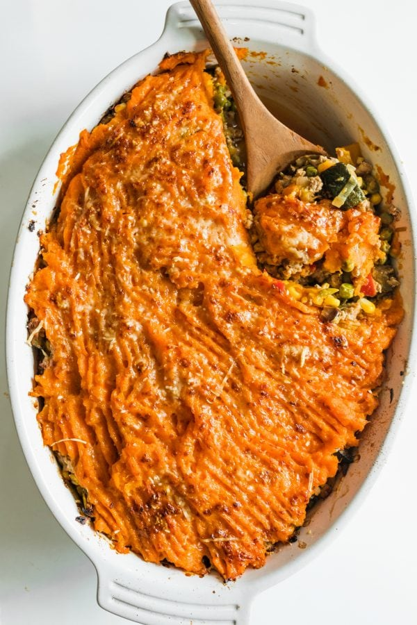spoonful of baked Shepherd's Pie with sweet potatoes