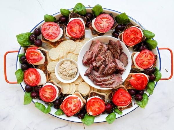 steak sandwiches on a tray