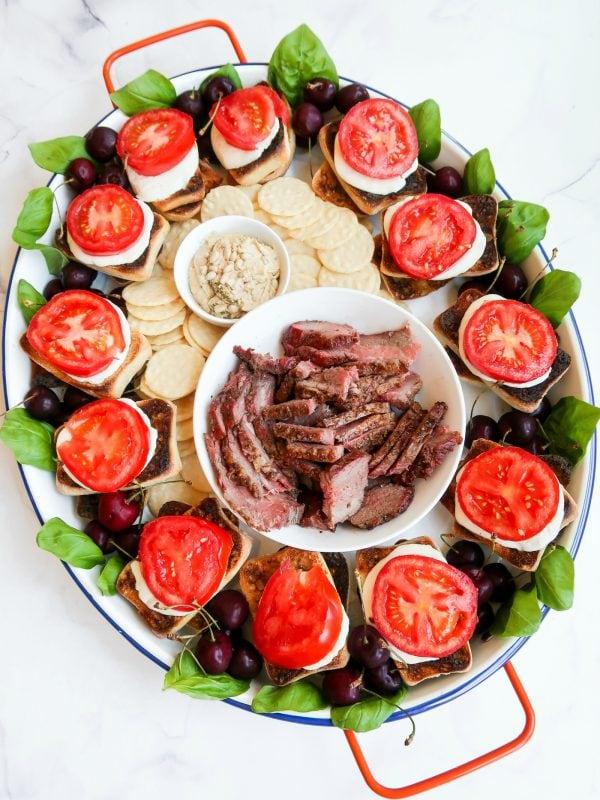 open face steak caprese sandwiches tray