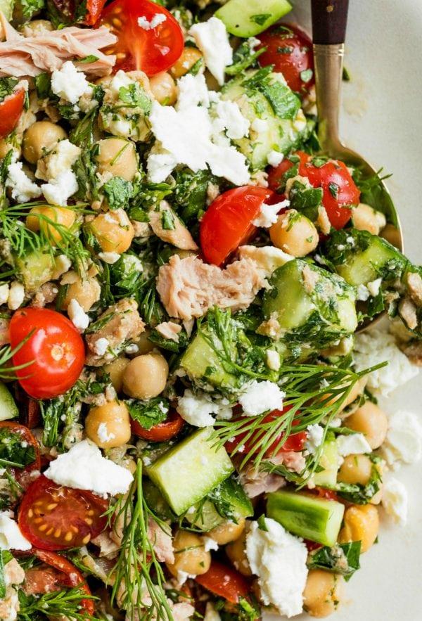 tuna, cucumbers, tomatoes, chickpea salad with fresh herbs