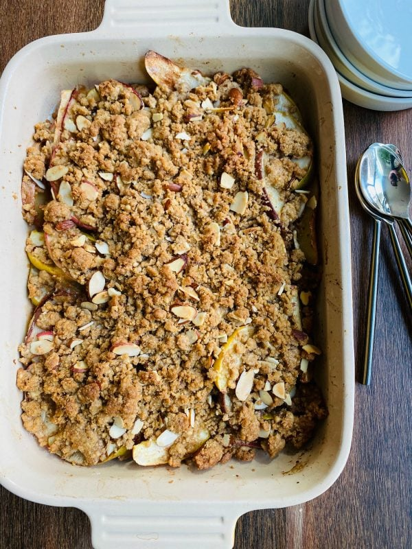 a 9x13 pan of Apple Pear Crumble Without Oats
