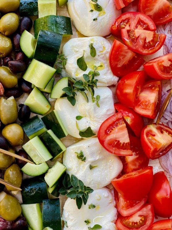 Burrata Chopped Salad ingredients