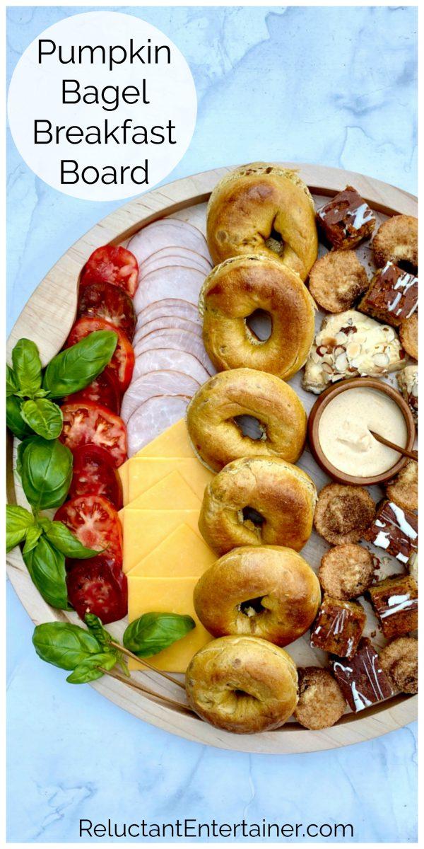 pumpkin bagel breakfast sandwich board