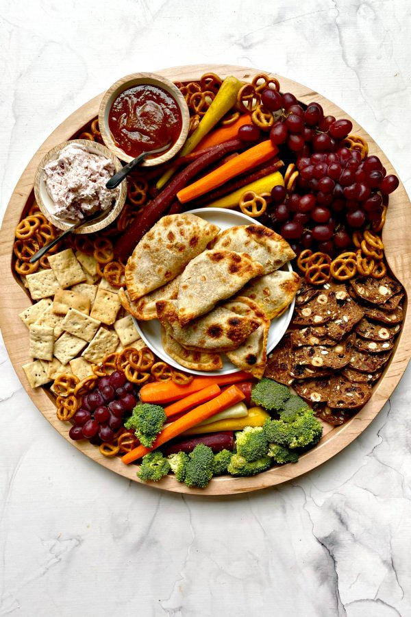 Pumpkin Empanada Snack Board with veggies