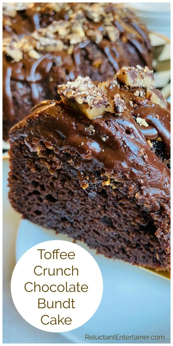 slice of Toffee Crunch Chocolate Bundt Cake