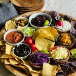 round vegetarian taco dinner board
