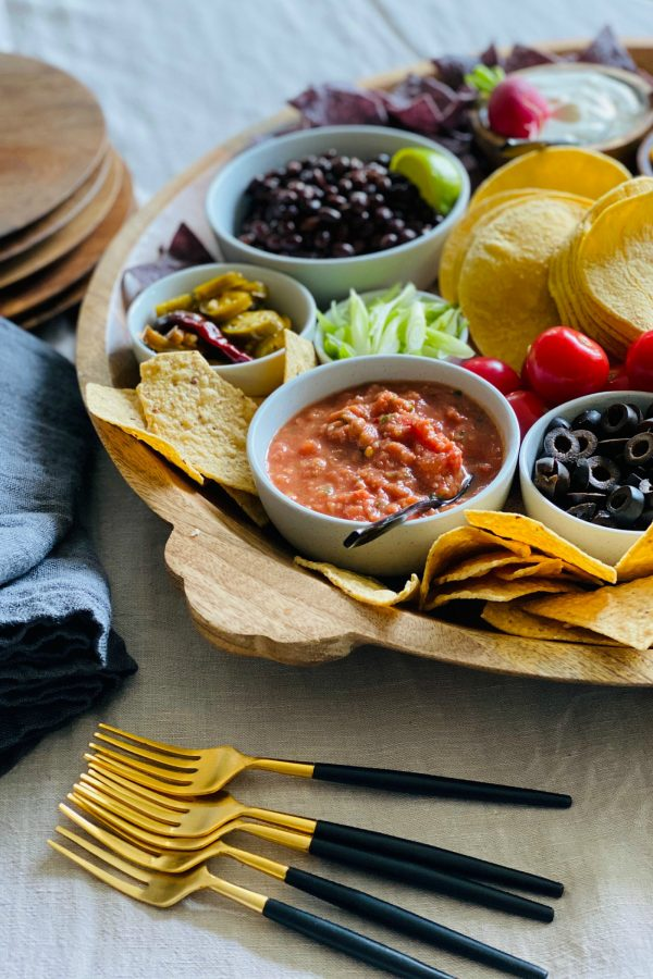 salsa and chips for taco board