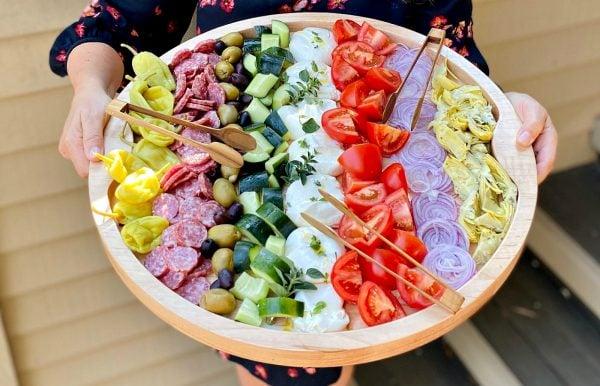 round tray of Burrata Chopped Salad