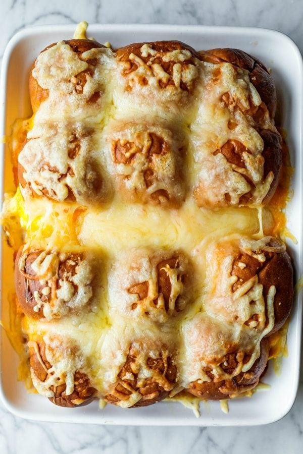 9x13 pan of cheesy breakfast sliders
