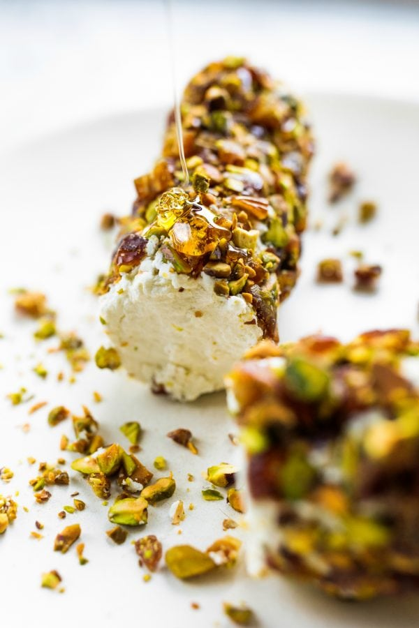 Pistachio Bacon Date Cheese Log