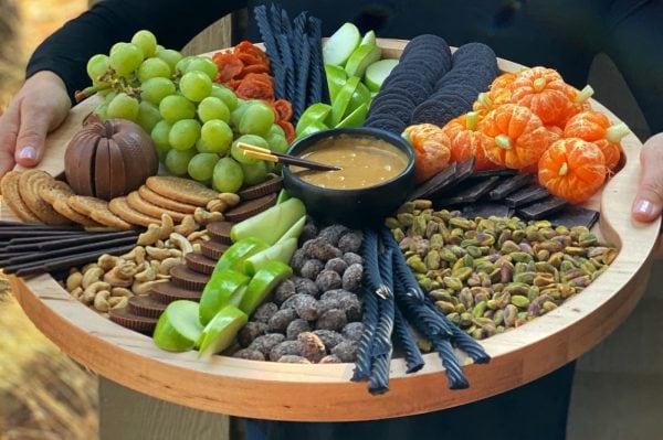 green and orange and black halloween snacks