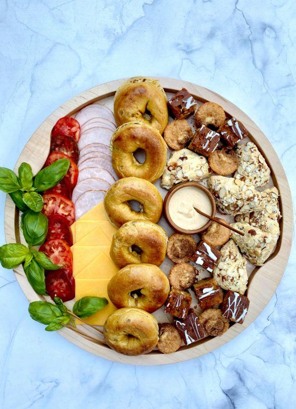 pumpkin bagel sandwich breakfast board