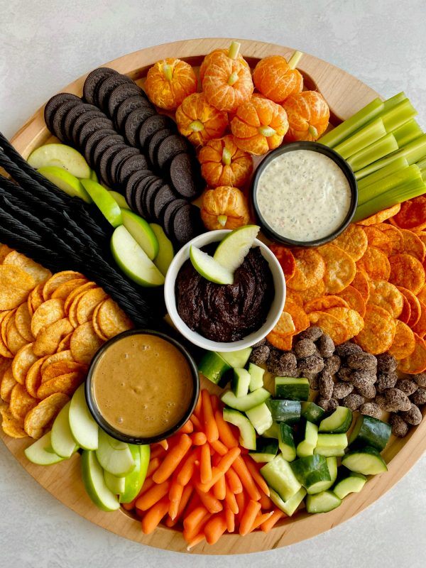 close up halloween charcuterie board with popchips