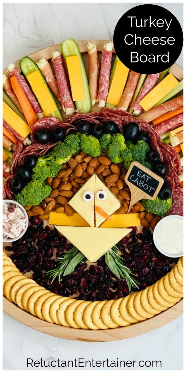 kid-friendly cheese plate made into turkey