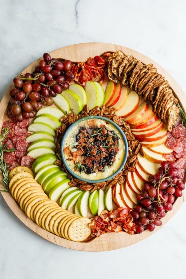 beautiful round Winter Brie Charcuterie Board