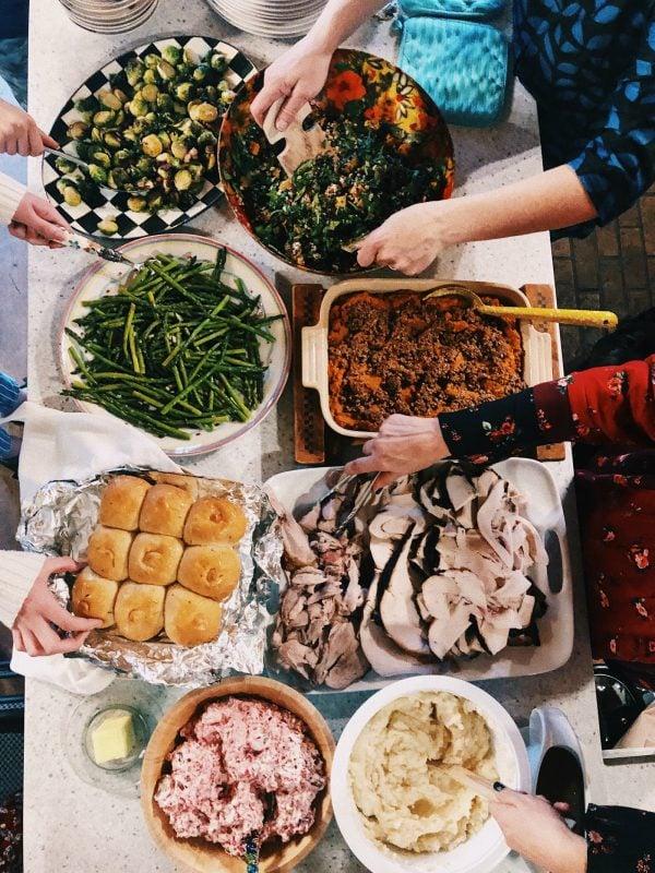 a Thanksgiving dinner buffet