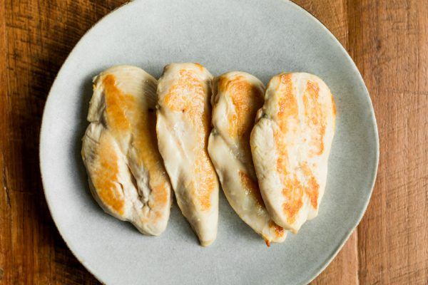 4 cooked skillet chicken breasts