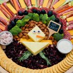 cheese made into a turkey on snack tray