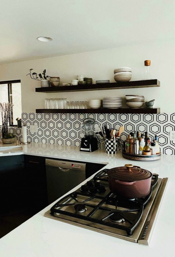 kitchen remodel modern with open shelves