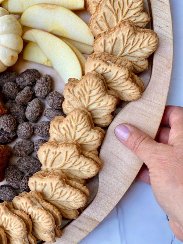 leaf cookies on a dessert board