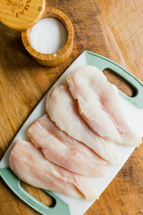 4 raw chicken breasts with salt