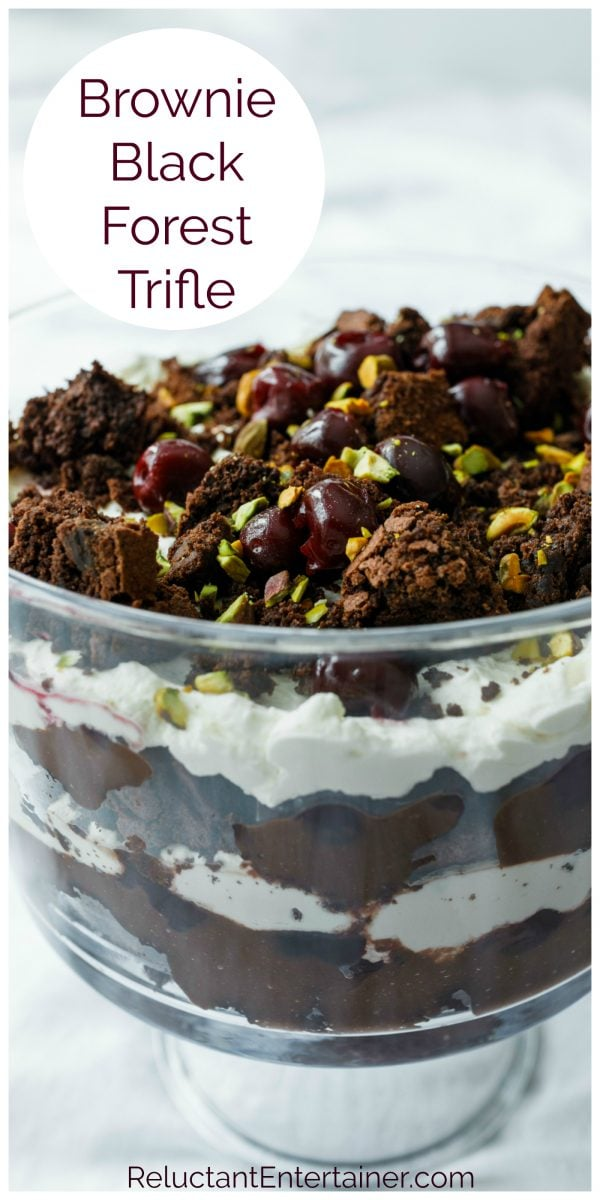 brownies and cherries on black forest trifle