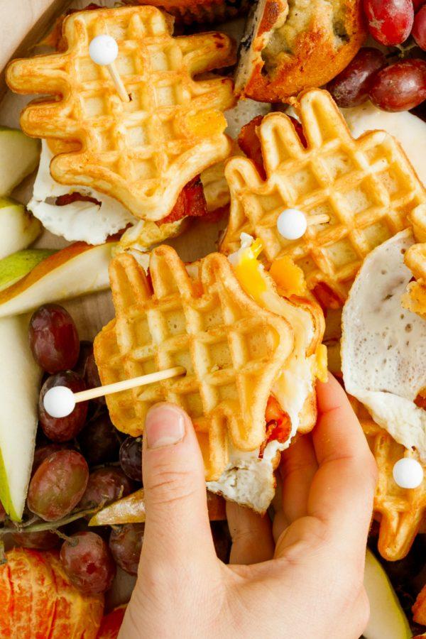 egg waffle breakfast sandwich shaped like a tree