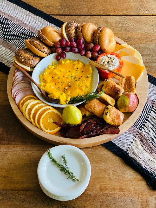 Breakfast Bagel Board with small white dishes