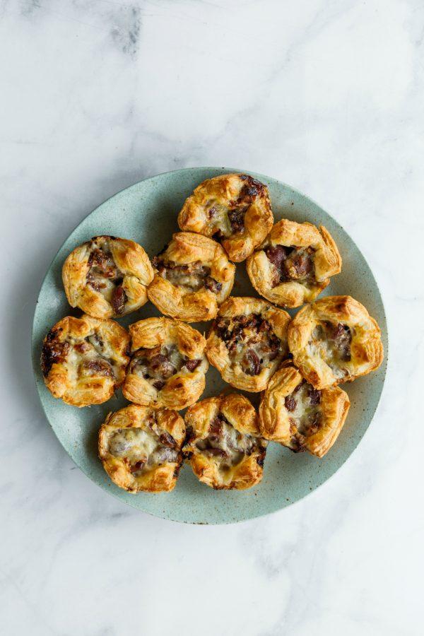round plate of Grape Gruyere Puff Pastry Bites