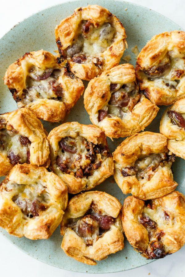 platter of Grape Gruyere Puff Pastry Bites