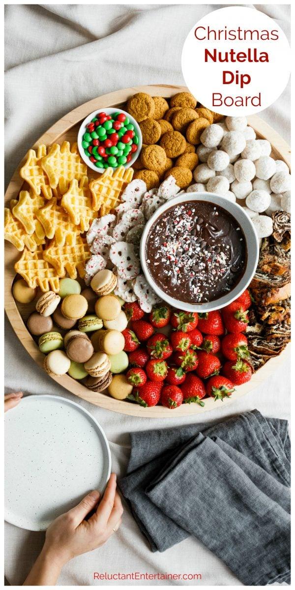 round dessert board with nutella dip