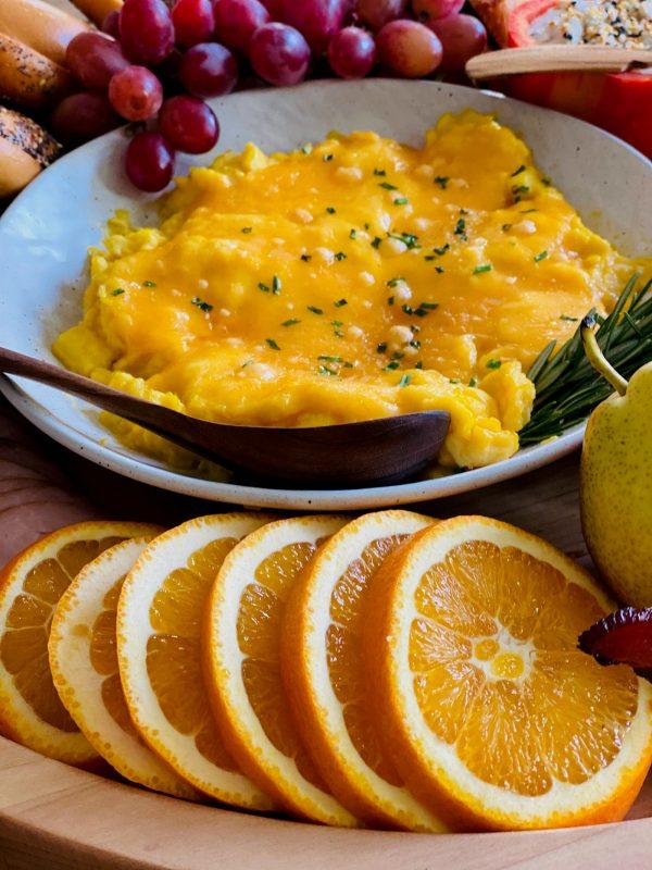 scrambled eggs in a white dish