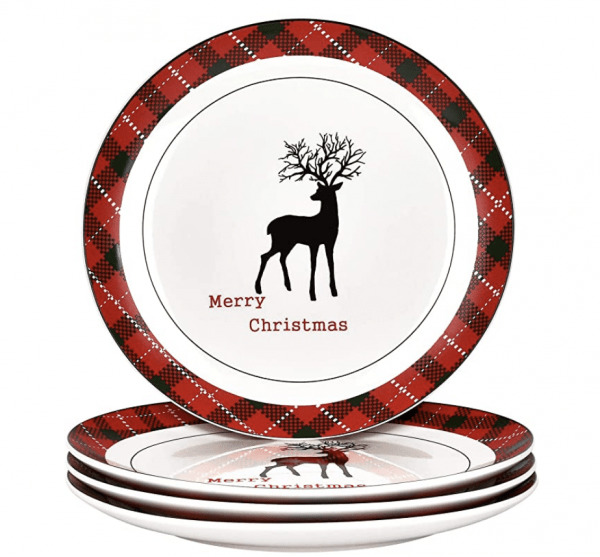 christmas plaid plates with reindeer