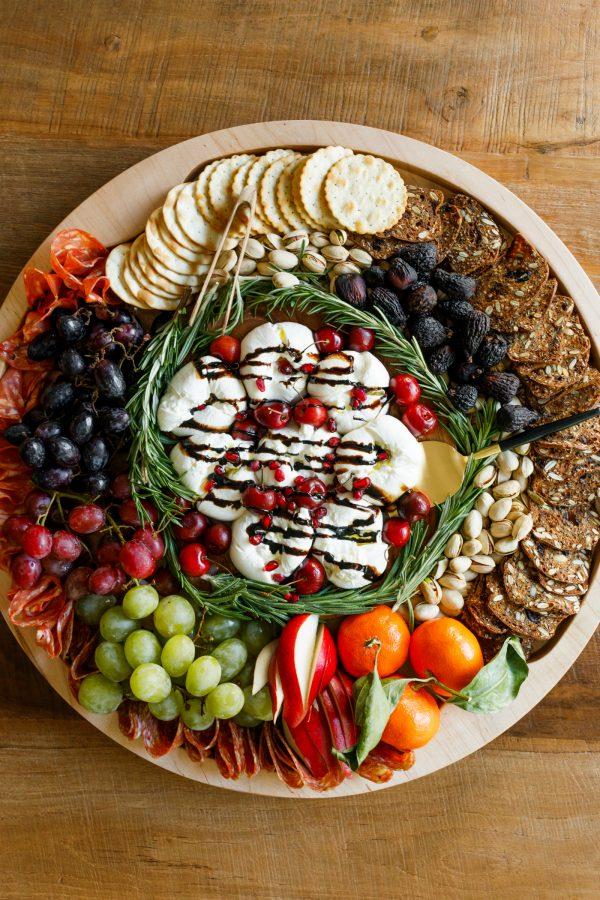 round board of Winter Burrata Charcuterie Board