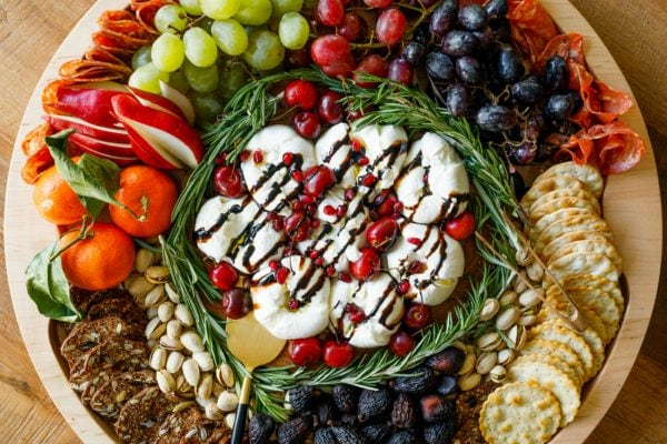 festive for holidays: Winter Burrata Charcuterie Board
