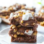 stacked rocky road fudge