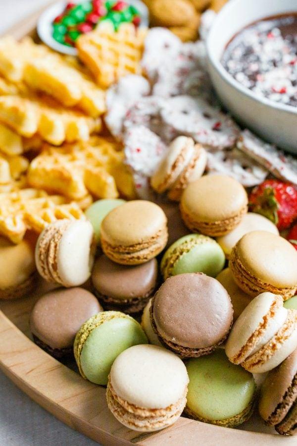macrons on a dessert board