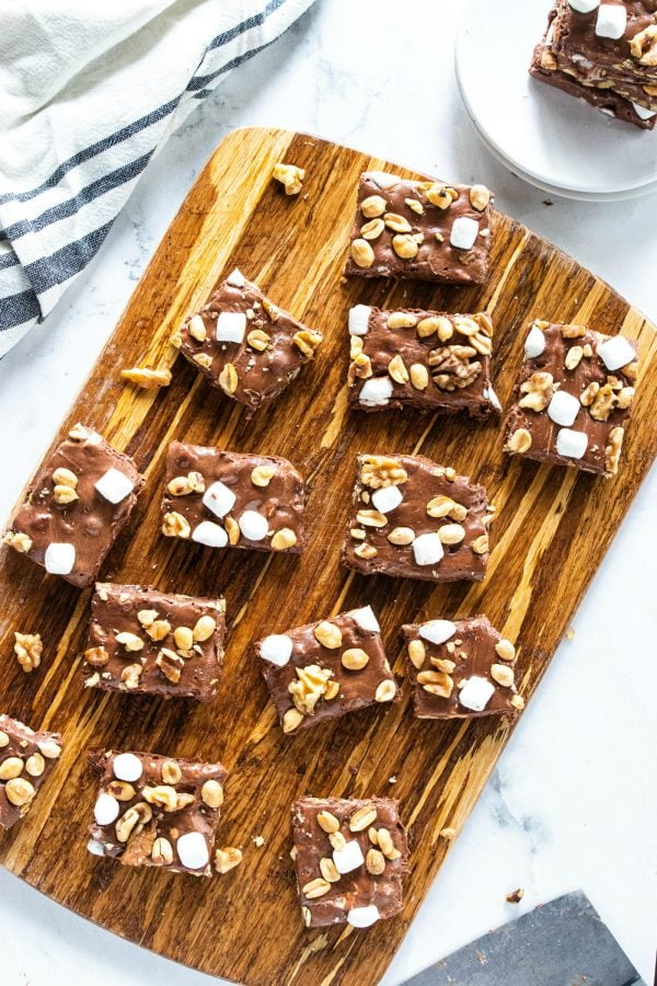 rocky road fudge cut into pieces